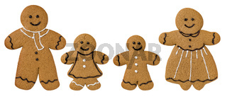 Gingerbread family decorated with icing and chocolate