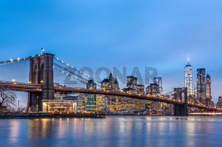 Brooklyn bridge at dusk, New York City.