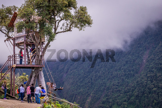 Treehouse giant swing in the Andes in Banos Ecuador
