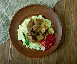 Sauteed reindeer  venison steak