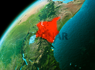 Kenya from space in evening