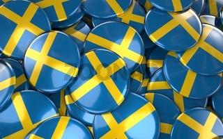Sweden Badges Background - Pile of Swedish Flag Buttons.
