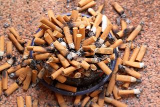 ashtray full of cigarettes close-up