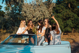 Five girls have fun in the countryside
