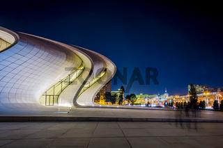 Heydar Aliyev center at night, Baku