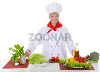 beautiful chef prepares breakfast.