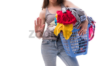 Woman with basket of clothing for laundry