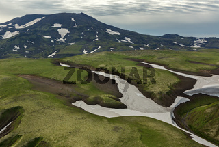 Hills with glaciers. South Kamchatka Nature Park.