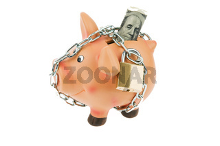 Sparschwein mit Kette und Dollar Geld