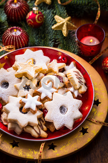 Christmas cookies and gingerbread with chandles