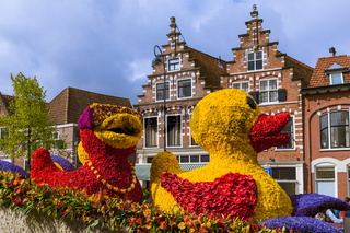 Statue made of tulips on flowers parade in Haarlem Netherlands