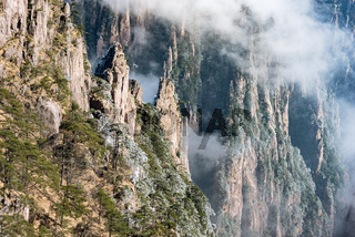 Clouds above the peaks of Huangshan National park.