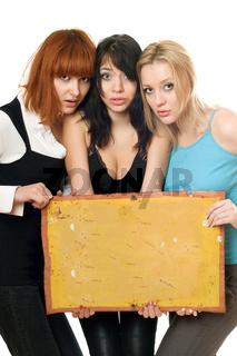 Frightened women taking vintage board