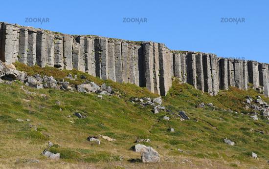 The Gerduberg basalt columns on the Snaefellsnes Peninsula, Iceland