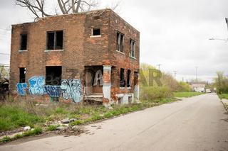 Abandoned Building Dilapidated Real Estate Detroit Michigan