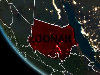 Satellite view of Sudan at night