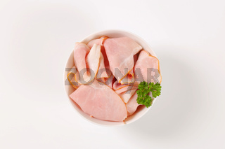 slices of pork ham