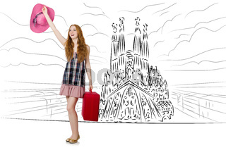 Young woman travelling to Spain to see Sagrada Familia