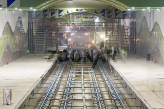 Subway rails during tunnel construction