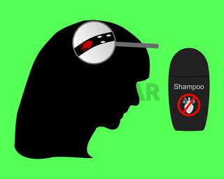 Frauenkopf, Laus, Nissen und Läuseshampoo