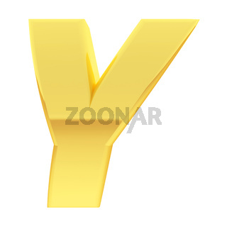 Gold alphabet symbol letter Y with gradient reflections isolated on white. High resolution 3D image