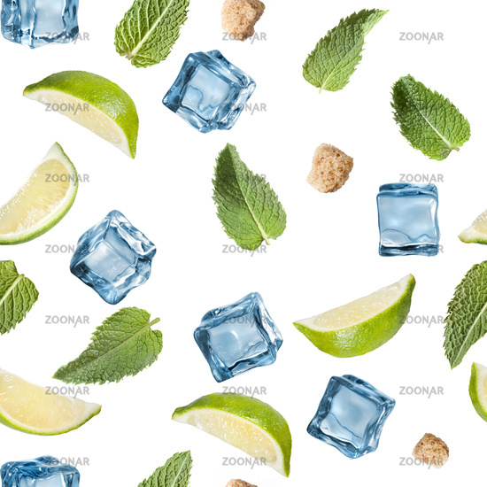 Lime, mint, sugar and ice cube on a white background.
