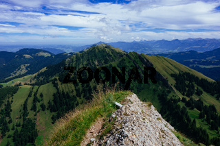 Hiking on the Nagelfluhkette in the German alps