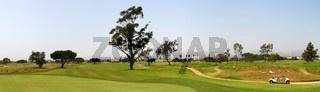 Panoramic shot of a golf fairway near Ventura