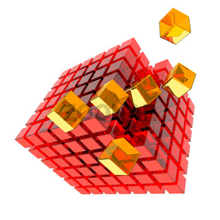 Apart flying glass cube, 3D Illustration