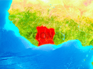 Ivory Coast in red on Earth