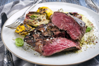 Barbecue Prime Rib Steak with Artichoke Hearts and Pattypan Squashes