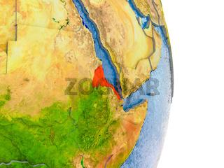Eritrea on realistic globe