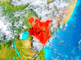 Kenya in red on Earth