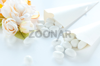 group of sugared almonds on white background