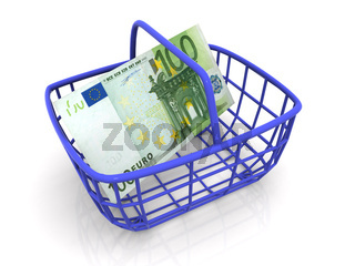 Consumer's basket with handred euro. 3d