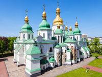 view of edifice of Saint Sophia Cathedral in Kiev