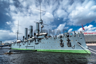 Aurora cruiser on Neva river in Saint Petersburg, Russia