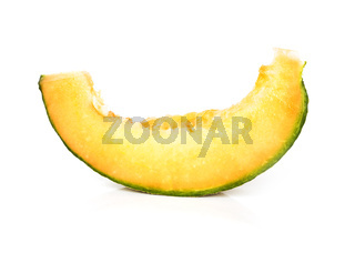 Slice of cantaloupe melon isolated
