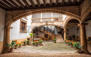 Picturesque mediterranean courtyard in Palma de Mallorca, Spain