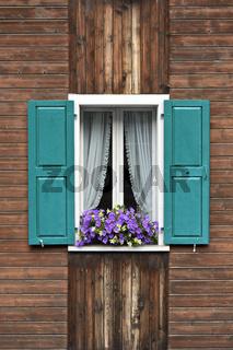 Fenster mit grünen Fensterläden, Gardinen und Blumen auf dem Fensterstock, Saas-Fee, Wallis, Schweiz