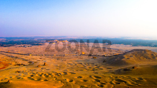 Aerial Panorama of Palmyra columns and ancient city,, Syria