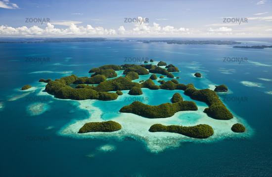 Luftaufnahme von Seventy Islands, Mikronesien, Palau, Aerieal View of Seventy Islands, Micronesia
