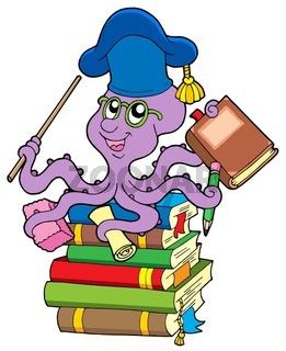 Octopus teacher on pile of books - isolated illustration.