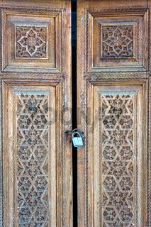 Old wooden carved door