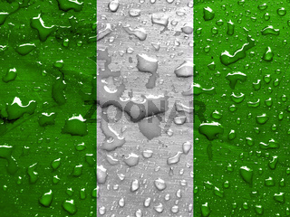 flag of Nigeria with rain drops