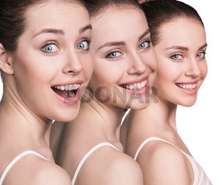 Woman's beautiful faces with healthy skin.