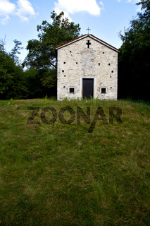 italy  lombardy       the arsago seprio old   church    step    wall  grass