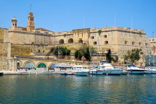 Senglea (L-Isla) fortifications as seen from Birgu. Malta