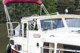 Motor boat in a marina.
