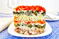 Salad with chicken and peppers on blue tablecloth
